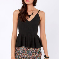 Pep'd Woman Black Peplum Top