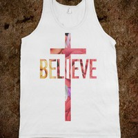 Believe (Floral) - SWEET TANKS - Skreened T-shirts, Organic Shirts, Hoodies, Kids Tees, Baby One-Pieces and Tote Bags