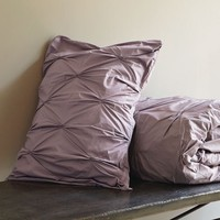 Organic Cotton Pintuck Duvet Cover + Shams - Light Amethyst