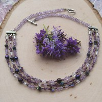 Puprle Amethyst, Swarovski Crystal and Czech Glass Necklace