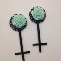 Pick size Teal  Rose Inverted cross rockabilly Psychobilly Pinup Scene Custom Plugs pastel goth