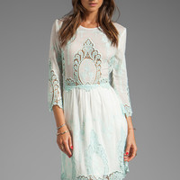 Dolce Vita Valentina Petticoat Embroidery Long Sleeve Dress in White/ Mint from REVOLVEclothing.com