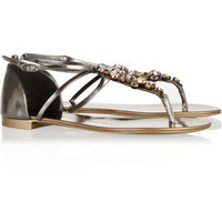 Giuseppe Zanotti | Swarovski crystal-embellished mirrored-leather sandals | NET-A-PORTER.COM