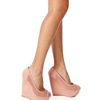 Blush Open Toe Wedges