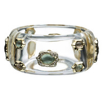 Ophelia Gold Large Clear Studded Bracelet :: Bracelets :: Lucite :: Collections :: Alexis Bittar