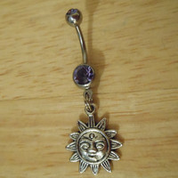 Belly button ring  Sun with purple stone belly by ChelseaJewels