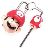 Super Mario Figure Mario Shaped Mini Lock + Key with Chain [4145] - US$1.76 - China Electronics Wholesale - FlyDolphin.com