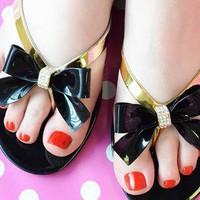 Diamante Bow Jelly Sandals - Black Flip Flops from Fashion Thirsty