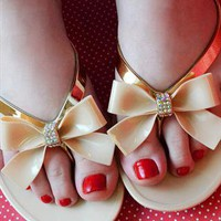 Diamante Bow Jelly Sandals - Beige / Nude Flip Flops from Fashion Thirsty