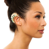 *MKL Accessories The Jeweled Leaf Ear Cuff in Green and Gold : Karmaloop.com - Global Concrete Culture