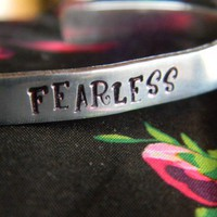 fearless statement handstamped  bracelet