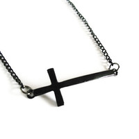 sideways cross bracelet in BLACK