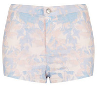MOTO Pink Floral Denim Hotpant - Shorts  - Clothing