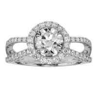 1.73 CT TW Round Diamond Pave Set Halo Engagement Ring in 14k White Gold - Size 12