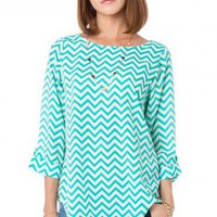 Zig Zag Blouse in Seawave - ShopSosie.com