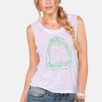 Hurley Shark Bite White Print Muscle Tee
