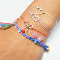 Set lot of three heart infinity bow wire charm friendship bracelets - coral mint lavender simple dainty delicate free people inspired