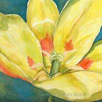 Watercolor painting of a Sunshine yellow tulip Spring flower