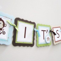 It's a Boy Monkey Banner Nursery Baby Shower Party Decoration