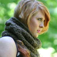 Cowl Scarf Neck Warmer Crochet Scarf / The Gourdon / Cafe Mocha or Choose Your Color