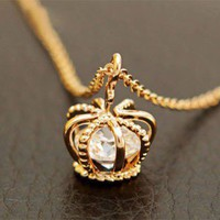 Fashion Crown Zircon Clavicle Chain Necklace [olala43] - $3.84 : Supply super low prices fashion jewelry and costume jewelry--Favor21.com