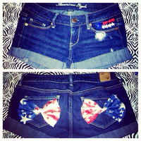 Stars and Stripes Denim Shorts  by AngeliqueMerici on Etsy