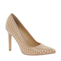Faith Cinderella Studded Nude Court Shoes at asos.com