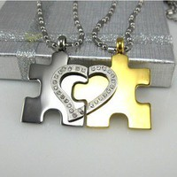 Puzzles heart lovers necklace