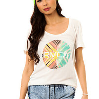 RVCA Tee Geo Circle Scoop in Marshmallow White