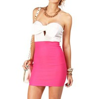 WhitePink Bow Top Tube Dress