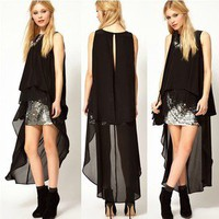 Black chiffon sleeveless T-shirt