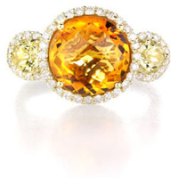 14K YELLOW GOLD DIAMOND CITRINE QUARTZ RING