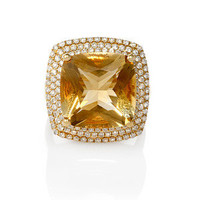 18K YELLOW GOLD DIAMOND & CITRINE RING