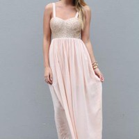 Light Pink Maxi Dress with Sequin Top and Strappy Back