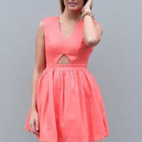 Pink Sleeveless V-Neck Dress with Cutout Back and Front