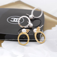 girlsluv.it - PEARL ring shaped stud earrings, 2 colors