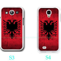 Red & Black Albania Flag Albanian Photo-Samsung Galaxy S3 ,Samsung Galaxy S4 ,you can choose S3 or S4-screen protector and cleaning cloth