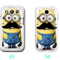 Despicable Me Mustache Minion Custom-Samsung Galaxy S3 ,Samsung Galaxy S4 ,you can choose S3 or S4-screen protector and cleaning cloth