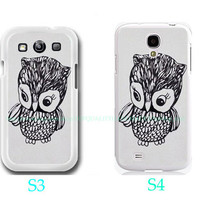Personalized Little Owl-Samsung Galaxy S3 ,Samsung Galaxy S4 ,you can choose S3 or S4-includes screen protector and cleaning cloth