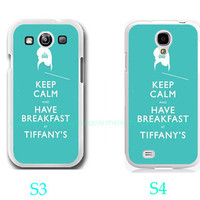 Keep calm and have breakfast at Tiffanys -Samsung Galaxy S3 ,Samsung Galaxy S4 ,you can choose S3 or S4-screen protector and cleaning cloth