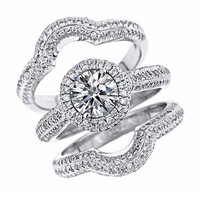 Micropave Set Round Brilliant Cut Diamond Engagement Ring Matching Wedding Bands Bridal Set 14K White Gold (2.36 Cttw, VS Clarity, F Color)