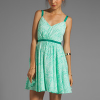 Milly Palm Print Aida V-Neck Dress in Mint from REVOLVEclothing.com