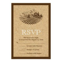 Vintage vineyard and cork wedding RSVP reply Invitations from Zazzle.com