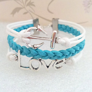 Anchor Bracelet-Infinity Bracelet - White Wax Cords and Blue Braid bracelet.
