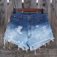 "Vintage Wrangler high waisted super short booty shorts coachella cut offs ombre dip dye bleached destroyed blue denim acid wash 30"" waist"