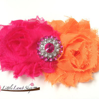 Sadie Baby Girl Headband hot pink orange Shabby by littlelambshop