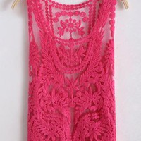 Sleeveless Round Neck Crocheted Lace Vest