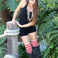 Red and White Pirate Stripe Over the Knee Leg Warmers