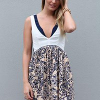Navy and White Layered Dress with Contrast Print Skirt