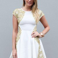 White Dress with Gold Embroider Side Detail and Skater Skirt